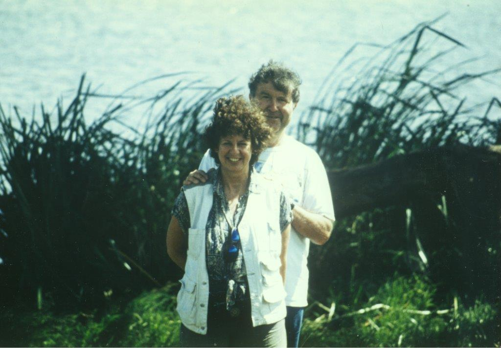 Tim Symonds and Lesley Abdela in the African bush