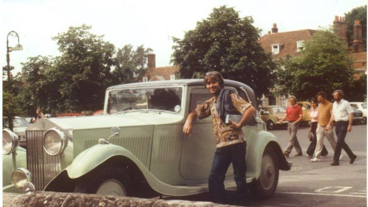 Tim Through The Years: Tim in his late 20s pretending he owned a Rolls